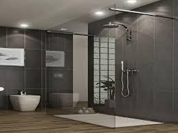 Awesome Glass Divider Shower Cubicle Also Chrome Rain Head Shower In Modern  Grey Bathroom With Grey Wall Tiled Ideas