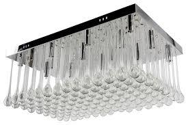 rectangular raindrops flush mounted crystal chandelier