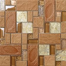 brown porcelain floor tiles yellow crystal glass tile backsplash ideas bathroom tree leaf patterns mosaic