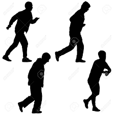 Silhouette Group Of People Walking Vector Illustration Set