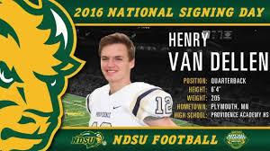 ndsu football signing day 2016 henry van dellen