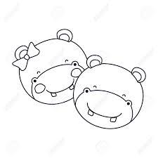 カバのカップル動物のしあわせ度式ベクトル イラストのシルエット似顔絵の顔をスケッチします