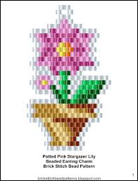 Stargazer Color Chart Brick Stitch Bead Patterns Journal Potted Pink Stargazer