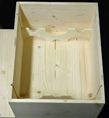 The above picture is the inside of a 6 bottle crate with two inserts. The  top and bottom inserts slide into the crate because the crate has routed  grooves ...