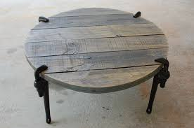 round industrial wood coffee table reclaimed wood furniture pipe