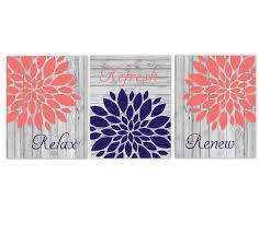 Even when you are planning to decorate it with the farmhouse style, the yellow wall is a great option. Coral Navy Blue Bathroom Wall Art Mum Dahlia Flower Floral Relax Refresh Renew Rustic Farmhouse Style Theme Prints Spa Bath Dezignerheart Designs C Personalized Baby Nursery Decor Gifts