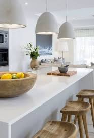 white kitchen pendant lighting. Concrete Pendant Lights + White Kitchen Wood Stools BRING IN WOOD WITH STOOLS AND ACCESORIES Lighting T