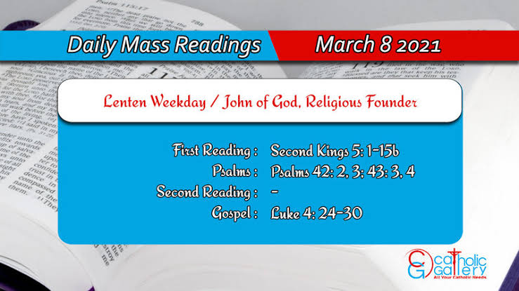 Catholic Online Daily Mass Reading for 8th March 2021
