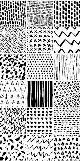 简单几何手绘线条黑白图形无缝背景 窝窝素材站