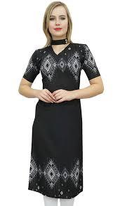 Kurta Top Designs Bimba Womens Printed Tunic Top Designer Kurta Short Sleeve