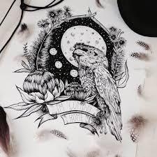цветной универсальный эскиз тату птицы 248