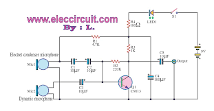 mic preamp circuit diagram the wiring diagram simple pre mic dynamic and electrec condenser micro phone circuit diagram