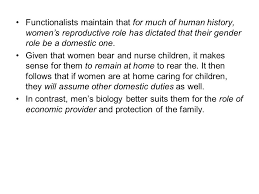 Functionalist view on gender inequality C Sustainable