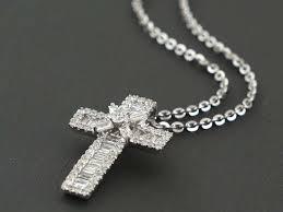 0 69ct pavé diamond 14k white gold traditional cross pendant necklace lot 36 1735295377