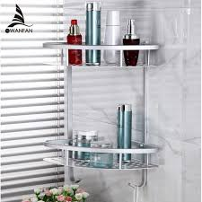 2019 bathroom shelves 2 tier metal wall mounted shower corner shelf washing cosmetic basket bath bathroom accessories towel hook 2517 from yanlun9