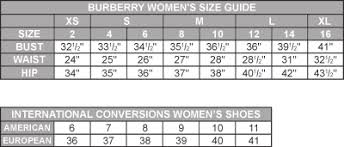 Burberry Size Chart