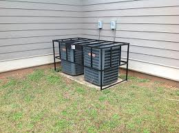 goodman ac unit. two unit hvac cage air conditioner goodman three ton ac