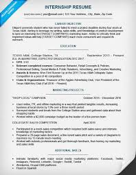 Objective In Internship Resume College Student Resume Sample Writing Tips Resume Companion 76
