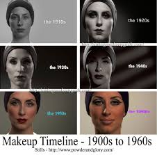 a handy guide for makeup looks from 1900 to 1960s