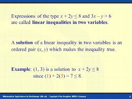 graphing linear inequalities in two variables chapter 4 section 1
