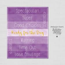 Color Behavior Chart Printable Printable Behavior Chart Purple Watercolor Diy Kids Magnet Clip Chart Home School Color Coded Toddler Behavior Reward Sign Customizable