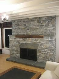 Mesmerizing Fireplace Decoration With Stone Fireplace Surround : Handsome  Living Room Decoration With Grey Grey Stone
