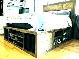 Queen Size Bed With Drawers Frame Storage Underneath Bookcase ...