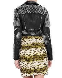 womens silver studded embellished designer leather biker jacket charlie london leather jackets for men and women free uk delivery