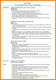 Teacher Resume Objective Sample Resume Special Education Teacher Resume Sample