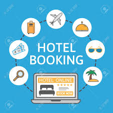 Rent A Book Online Free Online Hotel Booking Laptop With Holiday Icons Holiday Vacation