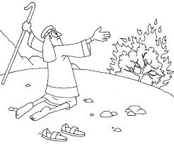 Small Picture Moses Take His Sandal Off When He Saw Burning Bush Colouring Page