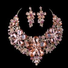 Aliexpress Com Buy Light Peach Color Statement Necklace Sets For