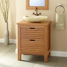 Bamboo Bathroom Sink 24 Narrow Depth Torrance Bamboo Slatted Front Vessel Sink Console