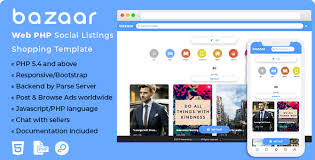 download template for website in php download bazaar social listing shopping web php template