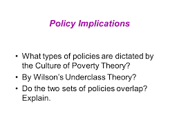 the underclass culture and race today s reading schiller ch  policy implications what types of policies are dictated by the culture of poverty theory