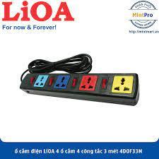 Ổ cắm điện LiOA 4 ổ cắm 4 công tắc 3 mét (4DOF33N 4DOF33WN)- Hàng Chính Hãng