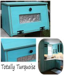 Turquoise Bread Box Simple Bread Box Rustic Antiqued Turquoise Bin Wooden Punched Tin