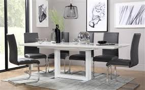 tokyo white high gloss extending dining table with 8 perth grey chairs