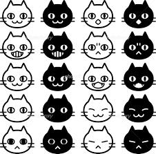 白猫と黒猫の顔アイコンセット イラスト素材 6005861 フォトライブ