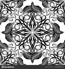 Black And White Vintage Design Black White Elegance Floral Seamless Pattern Vintage