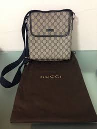 gucci bags for guys. mens gucci messenger bag authentic rare canvas leather cross body unisex blue bags for guys k