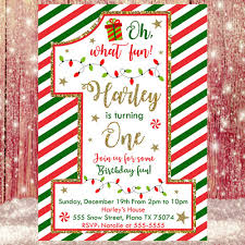 Christmas Invitation Card Christmas 1st Birthday Invitation Christmas Birthday Invitation Card
