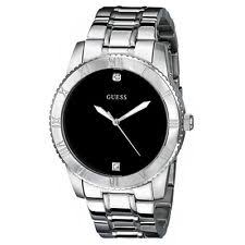 guess u0416g1 black diamond accent ana dial silver steel bracelet item 3 new guess watch men mostly polished stainless steel black dial u0416g1