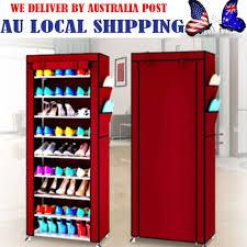 diy shoe rack cover 9 tier shoes cabinet storage organizer closet shelf stand