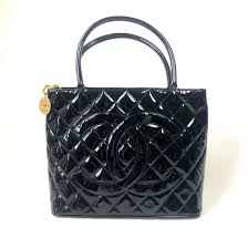 chanel black patent medallion tote designer bag