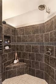 Bathroom:Captivating Walk In Showers Without Doors For Small Space With  Black Tile Wall And