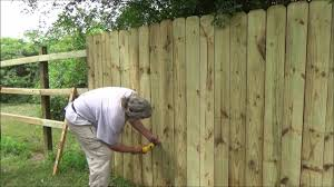 wood privacy fence picket installation