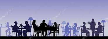 separate people. silhouette of people eating in a restaurant with all figures as separate objects \u2014 stock vector -