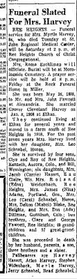 Myrtle Harvey funeral notice - Newspapers.com