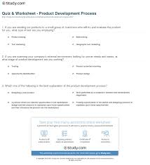 quiz worksheet product development process com print what is the product development process worksheet